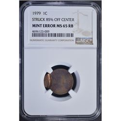 1979 MINT ERROR LINCOLN CENT, NGC MS-65 RB