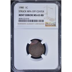 1980 MINT ERROR LINCOLN CENT, NGC MS-65 RB