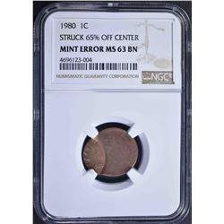 1980 MINT ERROR LINCOLN CENT, NGC MS-63 BN