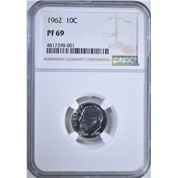 1962 ROOSEVELT DIME, NGC PF-69