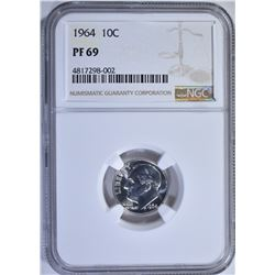 1964 ROOSEVELT DIME, NGC PF-69