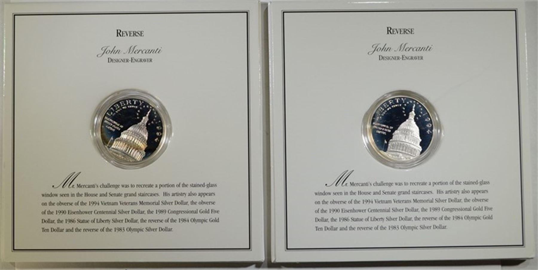 Image 1 2 SILVER PROOF DOLLARS 1994 US CAPITOL
