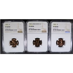 1959, 60 L.D. & 62 LINCOLN CENTS, NGC PF-68 RED