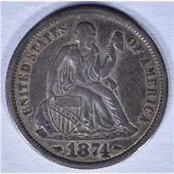 1874 SEATED LIBERTY DIME VF/XF
