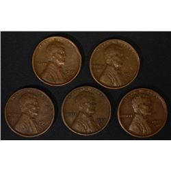 (5) 1913-S LINCOLN CENTS VF