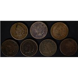 1859, 60, 62, 3-63 & 1-64LOWER GRADE INDIAN CENTS
