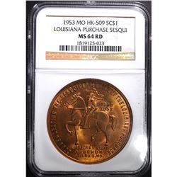 1953 MO HK-509 SO CALLED DOLLAR NGC MS-64 RED