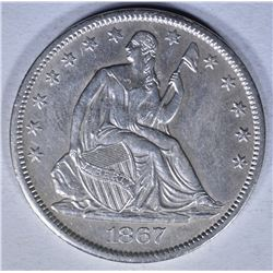 1867-S SEATED HALF DOLLAR  AU