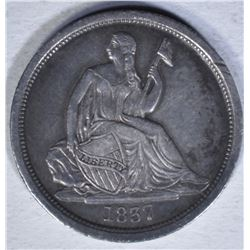 1837 SEATED DIME  XF