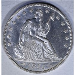 1855 ARROWS SEATED HALF DOLLAR  CH BU