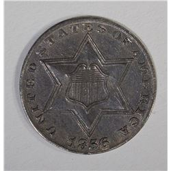 1856 THREE CENT SILVER  CH BU