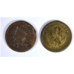 2-BROAS BROTHERS  STORE CARD TOKENS, NYC