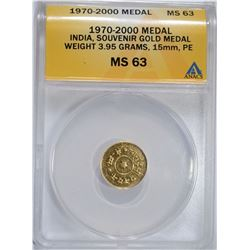 1970-2000 PURE GOLD MEDAL INDIA  ANACS MS 63