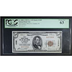 1929 TY 1 $5 NATIONAL CURRENCY PCGS 63