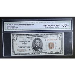 1929 $5 FEDERAL RESERVE BANK NOTE
