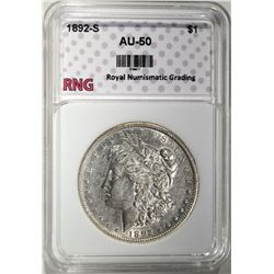 1892-S MORGAN DOLLAR RNG AU