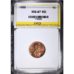 1955 LINCOLN CENT, LVCS SUPERB GEM BU RD