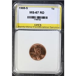 1968-S LINCOLN CENT LVCS SUPERB GEM BU RED