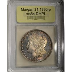 1890 MORGAN DOLLAR CH/GEM BU DMPL USCG