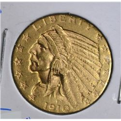 1910-S $5.00 GOLD INDIAN HEAD  NICE BU