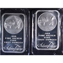 2-FIVE OUNCE .999 SILVER BARS (SILVERTOWNE)