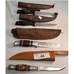 2 Normark, 1 Brusletto Scandinavian Knife & 1 Hunting Knive