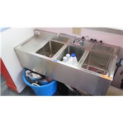 "3-Compartment Stainless Steel Wash Sink 48"" L X 19"" X 33"" H"
