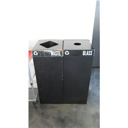 "Waste and Glass Receptacles (each 15.5"" X 15.5"" X 38"" H)"