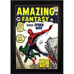 "Stan Lee Signed ""Spider-Man"" 29x42 Custom Framed Poster Display (Lee Hologram)"