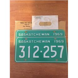 VERY RARE - Pair Of New/Old Stock 1969 Sask License Plates, Matching Numbers. In original packaging…