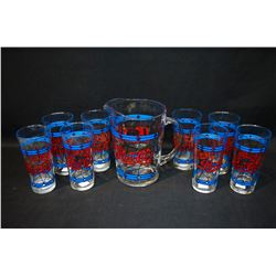 Pepsi-Cola Pitcher and 8 Glasses