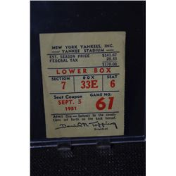 Original 1951 New York Yankees Admission Ticket
