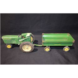 John Deere Tractor & Wagon Tin Toy