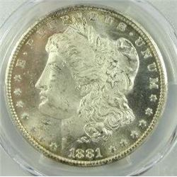 1881-CC Morgan Silver Dollar  PCGS MS64+