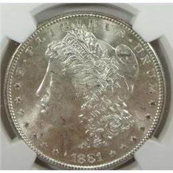 1881-S Morgan Silver Dollar  NGC MS65