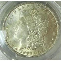 1897-P Morgan Silver Dollar  PCGS MS65+