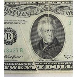 1950A $20 Federal Reserve Note Error