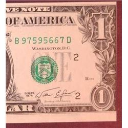 1974 $1 Federal Reserve Note Error