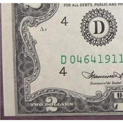 1976 $2 Federal Reserve Note Error