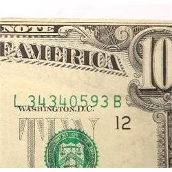1969-C $10 Federal Reserve Note Error