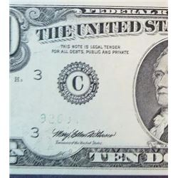 1993 $10 Federal Reserve Note  Error