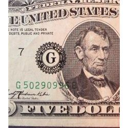 1969 A $5 Federal Reserve Note Error