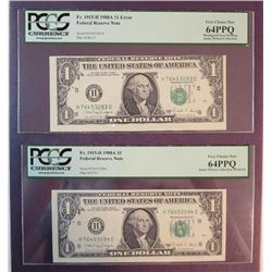 1988 A $1 Federal Reserve Note Error