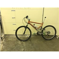 ORANGE SCHWINN 24 SPEED FULL SUSPENSION MOUNTAIN BIKE