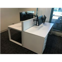 STEELCASE TURNSTONE WHITE WITH GLASS PANEL 2 PERSON OFFICE CUBICLE WITH EXTRA PANEL