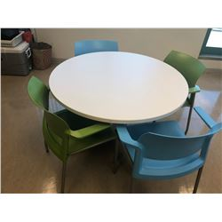 CONTENTS OF LUNCH ROOM INC. WHITE LUNCHROOM TABLE, 9 STEELCASE GREEN STACKING LUNCHROOM