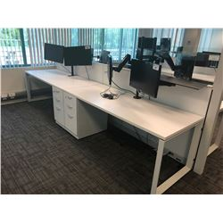 STEELCASE TURNSTONE WHITE WITH GLASS PANEL 2 PERSON OFFICE CUBICLE WITH FILE PEDESTALS