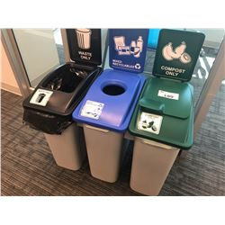 SET OF 3 RECYCLING / GARBAGE CONTAINERS
