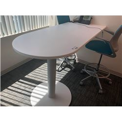 STEELCASE TURNSTONE WHITE BAR HEIGHT BULLET TOP DESK / CONFERENCE TABLE