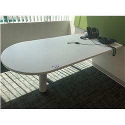 STEELCASE TURNSTONE WHITE BULLET TOP DESK / CONFERENCE TABLE
